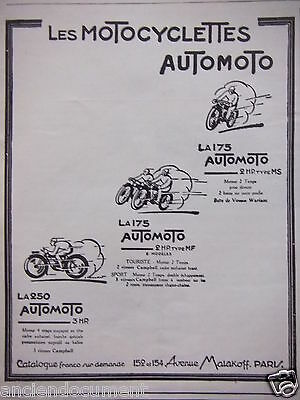 Publicité 1927 Les Motoclyclettes Automotos La 175 Et 250 - Advertising