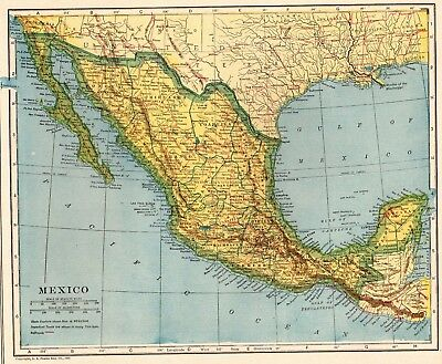 1922 Antique MEXICO Map and BAJA California Map Travel Gallery Wall Art 2189