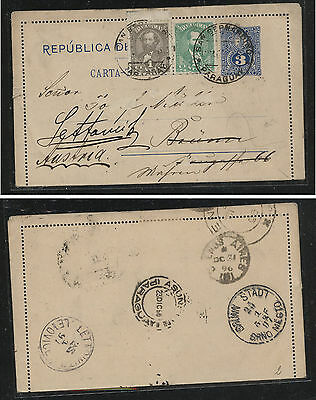 Paraguay 33,34 on uprated postal letter card redirected 1896             SS0322