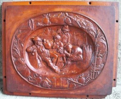 Vintage Architectural Tray/Plaque/Mold - Tavern Scene