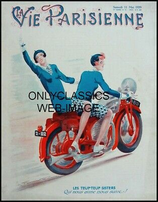 1929 FRENCH La Vie Parisienne MAGAZINE COVER POSTER GIRLS MOTORCYCLE ART GRAPHIC