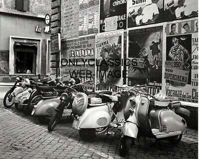 1955 Vespa Motor Scooter Motorcycle Photo Rome Italy Vintage Poster Backdrop