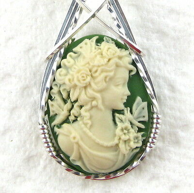 Goddess Butterfly Cameo Pendant .925 Sterling Silver Jewelry Green Resin