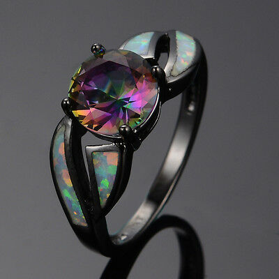 Rainbow Mystic Topaz Fire Opal Band Women's 10K Black Gold Filled Ring Size 4-12