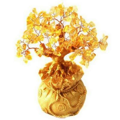 Feng Shui Citrine/ Yellow Crystal Gem Money Tree in Money Bag Pot for wealth S