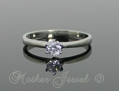 Silver Stainless Steel Simulated Diamond Engagement Girls Ladies Mens Ring
