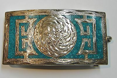 Vintage Mexican Sterling Silver/turquoise Inlay Aztec Design Belt Buckle N454-F