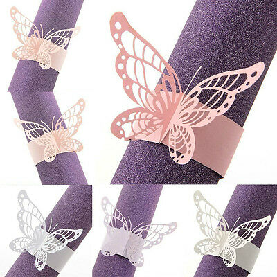 50pcs Napkin Butterfly Ring Paper Holder Table Party Bridal Wedding Favors Decor