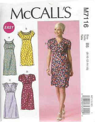 McCALL'S SEWING PATTERN MISSES' PULLOVER DRESS DRESSES SIZE 8 - 24 M7116