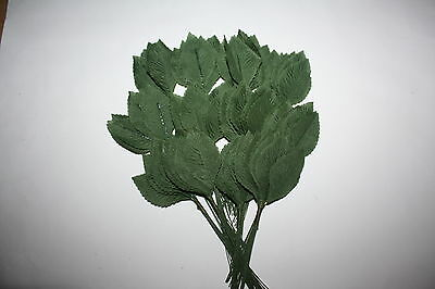 "144 x LARGE SILK GREEN ROSE LEAVES 60mm (2.25"") ON WIRED STEMS"