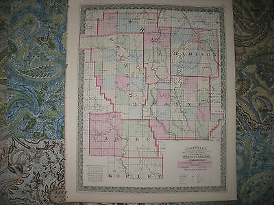 Antique 1873 Carter Reynolds Madison Iron Wayne County Missouri Handcolored Map