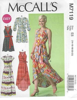 McCALL'S SEWING PATTERN MISSES' WRAP DRESS DRESSES  SIZE  8 - 22 M7119
