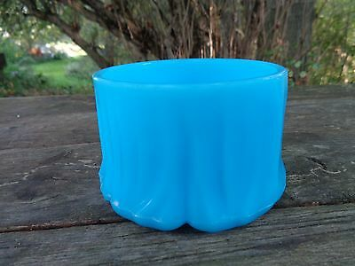 Vintage Antique BLUE GLASS  TRINKET DISH Made in USA milk-blue opaque