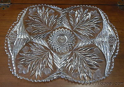 Antique Brilliant Cut Glass Crystal Tray Ornate Elegant Pattern Flowers Hobstar