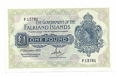Falkand Islands 8C One Pound Note CU 1977 Worldwide Currency South Atlantic
