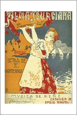 VINTAGE 1904 ITALIAN ALMANAC COVER beautiful collectors find HOT NEW 24x36-PW0