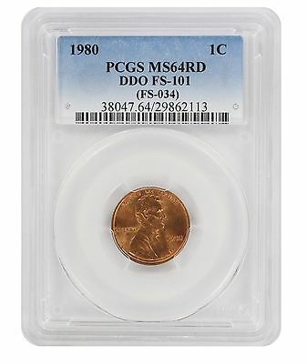 1980 Lincoln Cent PCGS MS64RD DDO FS-101 Cherrypicker Double Die Obverse