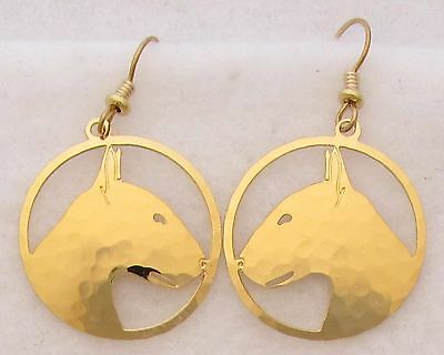 Bull Terrier Jewelry Gold Wire Earrings by Touchstone Dog Designs