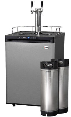 Kegco Digital Homebrew Kegerator Dual Faucet Stainless with Ball Lock Kegs