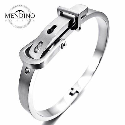 MENDINO Men's Unisex 316L Stainless Steel Bracelet Watchband Cuff Bangle Silver