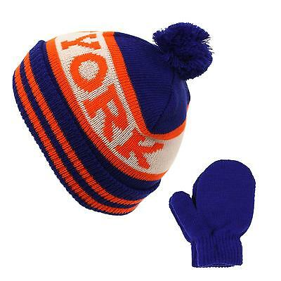 Winter 2pc New York Toddler Boys Kids Age 2-4 Knit Beanie Hat Gloves Set Blue