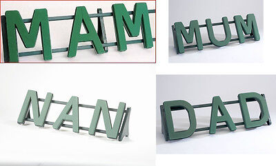 3 letter oasis floral foam names on stand mum mam dad nan son
