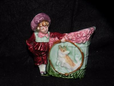 Antique Majolica Figural Vase Young Boy With Dog