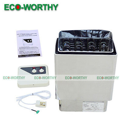 6KW 220V - 380V Electric Sauna Heater Stove with Outer Controller Deep Rock Tray