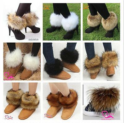 Fashion Women Warm Faux Fox/Rabbit/Raccoon Fur Lower Leg Warmer Boot Shoes Cover