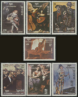 CAMBODGE Kampuchea N°560/566** Tableaux 1985, CAMBODIA Painting 603-609 MNH