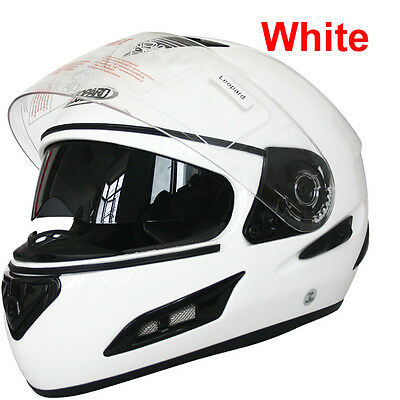 Leopard LEO-828 DVS Full Face Bike Motorcycle Motorbike Helmet Crash BLACK WHITE