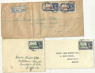 NIGERIA x 3 SILVER JUBILEE STAMP COVERS > ROSS SHIELS LONDON STAMP DEALERS 1935