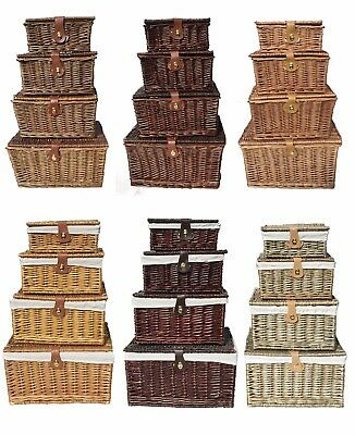 Brown Oak Lidded Xmas Hamper Baskets With Handle Picnic Gift Storage Basket Box