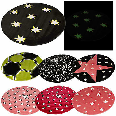 100cm Glow In The Dark Rug Round Circle Kids Bedroom Playroom Plantation Mat NEW