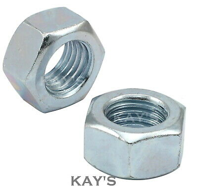 Unc Hexagon Full Nuts Zinc Plated 1/4, 5/16, 3/8, 7/16, 1/2, 5/8, 3/4 Grade 1