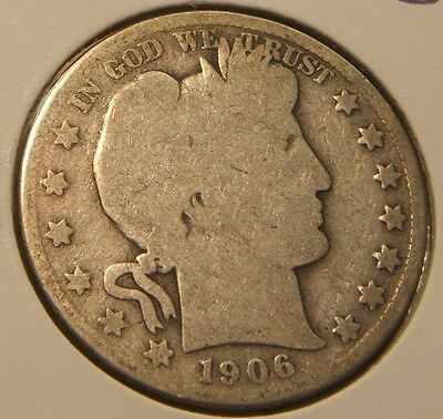 1906-S~Barber Half Dollar~~Silver Beauty~~Ag-Good