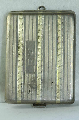 Edwardian Antique Sterling Silver 14K Gold Card Case With Photos Of Man & Woman