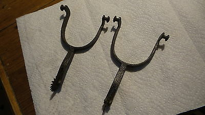 Vintage Antique Hand Forged Steel SPURS, Pat', Marked with Daisies,Flowers