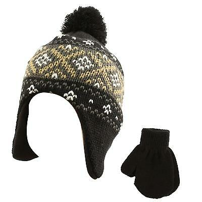 Winter 2pc Soft Baby Kids 6 months Lined Beanie Knit Earflap Hat Glove Set Black