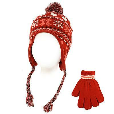 Winter 2pc Lined Girls Kids Age 4-6 Knit Trapper Beanie Ski Hat Glove Set Red