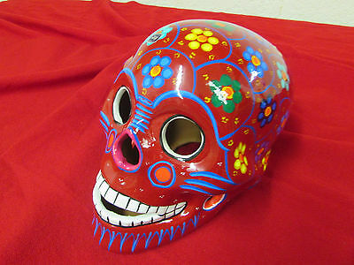 Day of the Dead Skull #1-Mexican Folk Art-10x6x6 in-Painted-Candleholder-Large