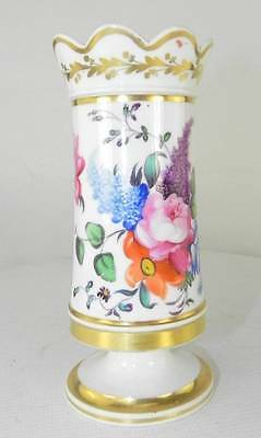Small Continental Porcelain Stem Vase Handpainted with Flowers  c 1880