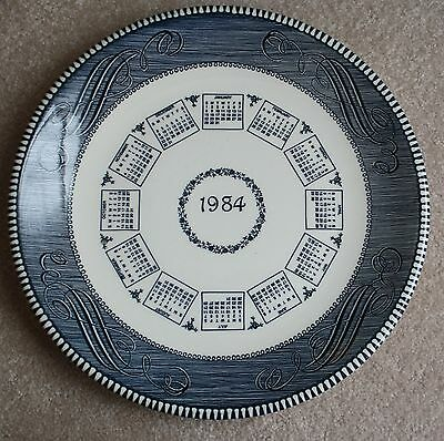 "Blue/White Plate with 1984 Calendars 10 1/4"" Plate"