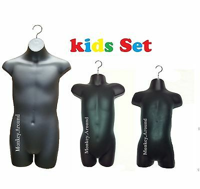 3 MANNEQUIN DRESS BODY TORSO FORM Teen CHILD TODDLE +3 HANGERS DISPLAY CLOTHING