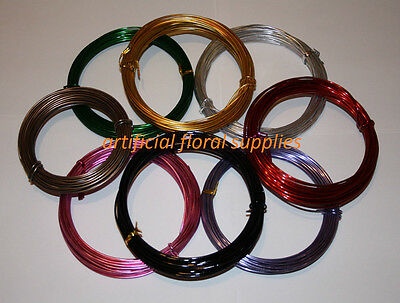 2mm width Aluminium Wire 100g 10 metre long roll floristry or crafts ALL COLOURS