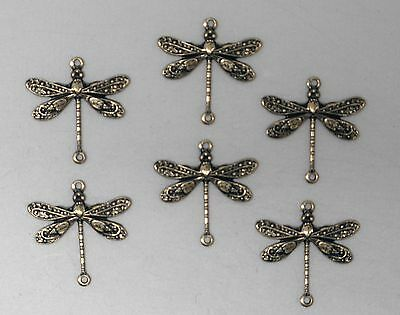 #2001 SM ANTIQUED GOLD BRASS DRAGONFLY CONNECTOR W/2 RINGS - 6 Pc Lot