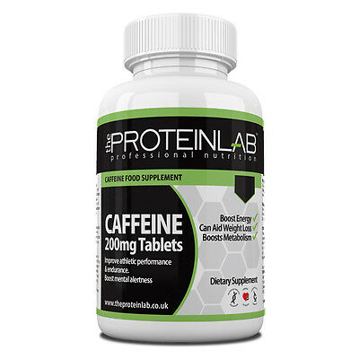 Caffeine Tablets 200mg - Energy Boost Pills, Slimming, Pre workout, Fat Loss Aid