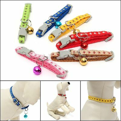 Paws Printing Nylon Novelty Small Puppy Cat Kitten Dog Pet Collars With Bell Toy