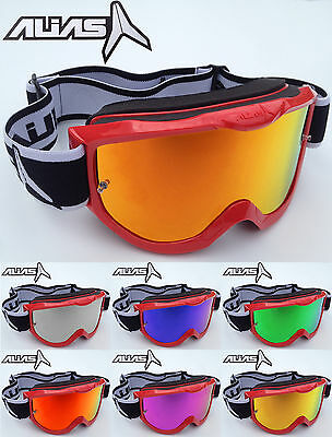 ALIAS RIVAL MOTOCROSS MX BIKE GOGGLES RED with MIRROR LENS + FREE CLEAR LENS NEW