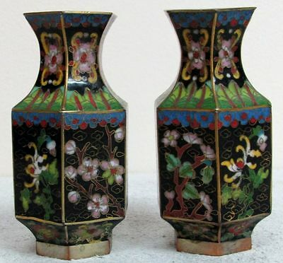 VINTAGE EARLY 20th CENTURY PAIR OF CHINESE CLOISSONE' BRONZE FLORAL VASE'S